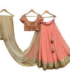 Buy Peach embroidered dupion silk unstitched lehenga lehenga-below-2000 online