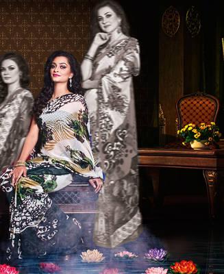 Lovely White & Black Georgete Sari