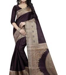 Buy Coffee printed silk saree with blouse art-silk-saree online