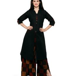 Buy Black woven cotton kurtas-and-kurtis kurtas-and-kurtis online