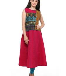 Buy Pink woven cotton kurtas-and-kurtis wedding-season-sale online