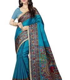 Buy Turquoise printed khadi saree with blouse cotton-saree online