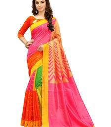 Buy Multicolor printed bhagalpuri saree with blouse cotton-saree online