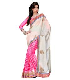 Buy Beige embroidered brasso saree with blouse contemporary-saree online