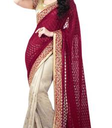 Buy Maroon embroidered brasso saree with blouse ethnic-saree online