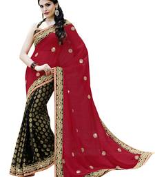 Buy Red embroidered georgette saree with blouse bollywood-saree online