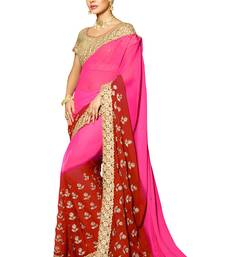 Buy Pink embroidered chiffon saree with blouse contemporary-saree online