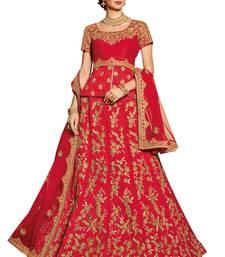 Buy Red embroidered silk unstitched lehenga with dupatta bridal-lehenga online