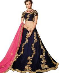 Buy Blue embroidered velvet unstitched lehenga with dupatta bridal-lehenga online