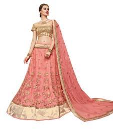 Buy Pink embroidered net unstitched lehenga with dupatta bridal-lehenga online