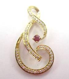 "Buy 14K Gold Ruby & White Diamond And Shaped Pendant on 17"" chain gemstone-pendant online"
