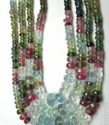 Buy 215Cts Natural Real Aquamarine & Tourmaline Beads 4 line Necklace gemstone-necklace online