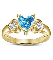 Buy 925 sliver 14k gold plated single blue heart stone  and  white cz birthday gift  and  anniversary gift ring cubic-zirconia-cz-ring online