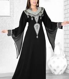 Buy Black  embroidered  faux georgette  kaftan islamic-kaftan online