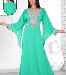 Buy Sea green  embroidered  faux georgette  kaftan islamic-kaftan online