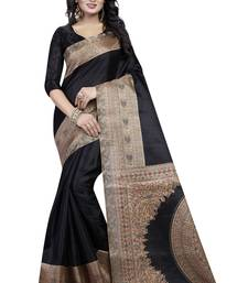 Buy Black printed art silk saree  kalamkari-saree online