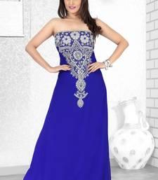 Buy royal blue embroidered faux georgette fustan fustan online