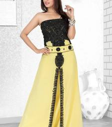 Buy yellow embroidered faux georgette fustan wedding-season-sale online