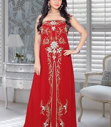 Buy Red faux georgette embroidered fustan fustan online