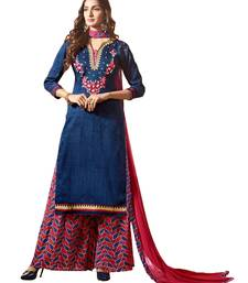 Buy navy_blue printed crepe unstitched salwar with dupatta palazzo online