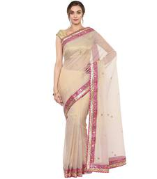 Buy Beige embroidered pure tissue saree with blouse tissue-saree online