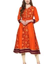 Buy Orange printed polyester stitched kurti kurtas-and-kurtis online