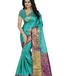 Buy Turquoise woven art silk saree with blouse cotton-silk-saree online