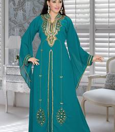 Buy Teal green embroidered faux georgette islamic kaftans islamic-kaftan online
