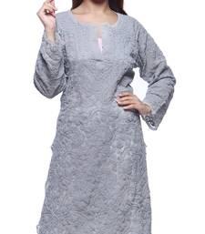 Buy Grey embroidered georgette chikankari-kurtis chikankari-kurtis online