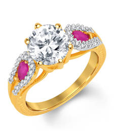 Buy Briliant Gold and Rhodium Plated CZ and Ruby Studded Ring Ring online