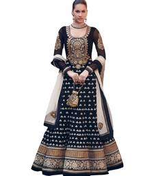 Buy Black Embroidery Georgette semi stiched suit with dupatta semi-stitched-salwar-suit online