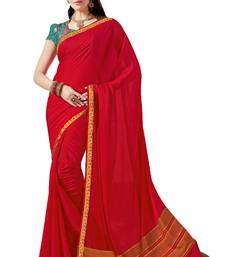 Buy Red Printed Crepe and Silk saree with blouse crepe-saree online