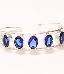 Buy Blue sapphire cuff gemstone handmade jewelry bracelet adjustable gemstone-bracelet online