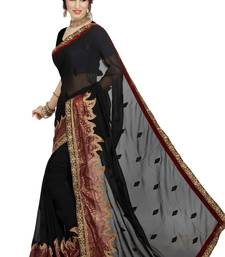 Buy Black Embroidered Shimmer Foil saree with blouse shimmer-saree online