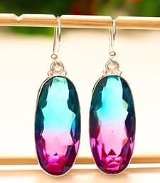 "Buy Bi-color tourmaline gemstone 925 sterling silver earring 1.87"" gemstone-earring online"
