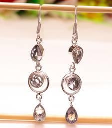 """Buy White topaz gemstone 925 sterling silver earring 2.65"""" gemstone-earring online"""