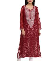 Buy Maroon embroidered georgette chikankari-kurtis chikankari-kurtis online