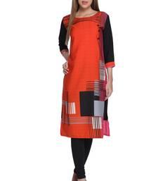 Buy Orange printed crepe stitched kurti kurtas-and-kurtis online