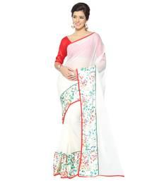 Buy White woven chiffon saree with blouse chiffon-saree online