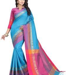 Buy Dark sky blue woven cotton silk saree with blouse cotton-silk-saree online