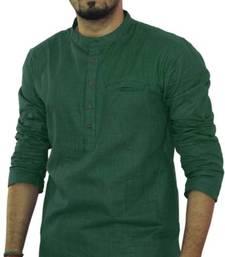 Buy Teal green cotton solids mens wear kurta men-kurta online