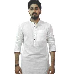 Buy White cotton solids mens wear kurta men-kurta online