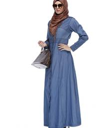Buy Light blue denim stitched abaya abaya online