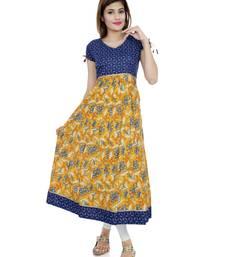 Buy Yellow printed stitched cotton-kurtis cotton-kurtis online