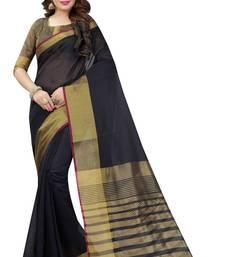 Buy Black plain art silk saree with blouse art-silk-saree online