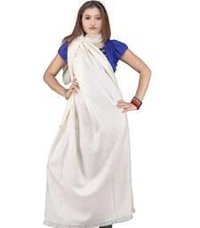 Buy Stylish Embroidery Pure Kashmiri Warm White Shawl shawl online