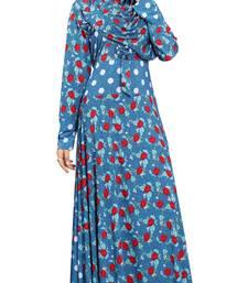 Buy Multi Colour Printed Stretchable Lycra Anarklai Style Burka With Waist Belt burka online
