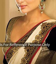 Buy White georgette with embroidery cut border kareena kapoor saree kareena-kapoor-saree online