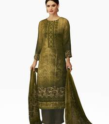 Buy multicolor Pure viscose dobby pashmina and digital print with embroidery work unstitched salwar with dupatta dress-material online