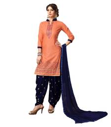 Buy Peach embroidered cotton silk salwar with dupatta cotton-silk-suit online